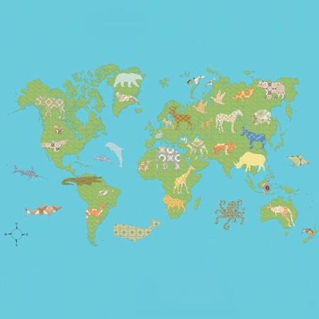 Inke2131 wereldkaart groen staal