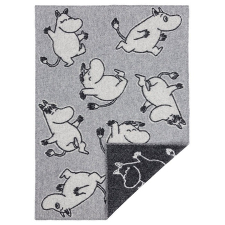 Wollen ledikantdeken Happy Moomin Grey