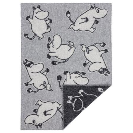 Wollen ledikantdeken Happy Moomin Grey