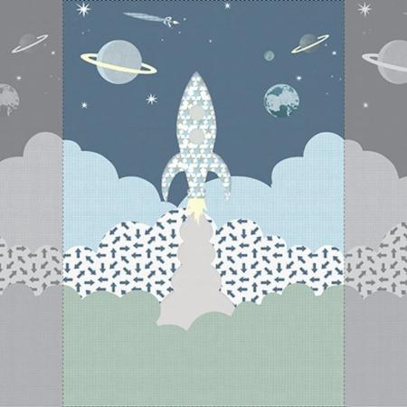 Inke muurprint Raket grijsblauw