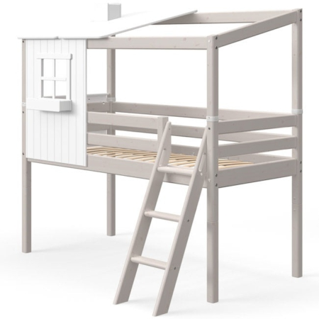 Flexa Classic Mid-High bed met classic house 1 raam greywash