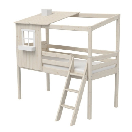 Flexa Classic Mid-High bed met classic house 1 raam whitewash