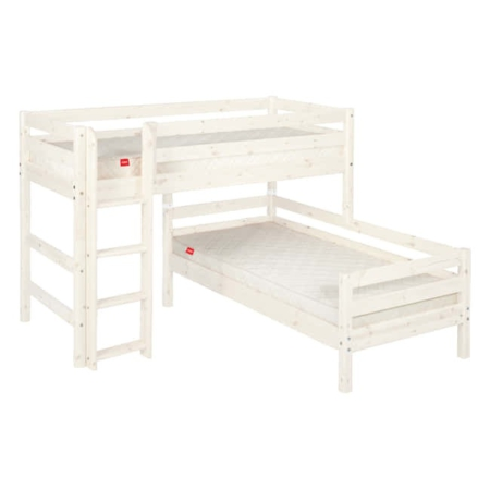 Flexa Classic hoekstapelbed rechte ladder whitewash