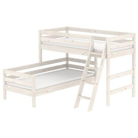 Flexa Classic hoekstapelbed schuine ladder whitewash