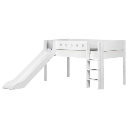 Flexa white mid-hoogslaper rechte trap en glijbaan white-white