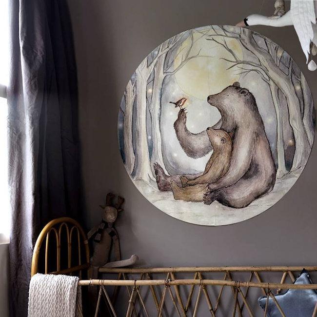 Hartendief behangcirkel Beren en Roodborstje sfeer