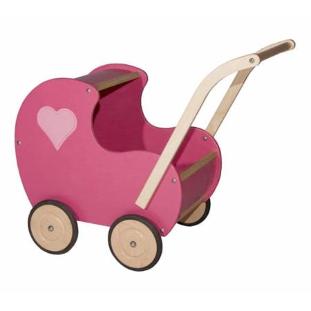Van Dijk Toys vintage poppenwagen roze dciht hartje