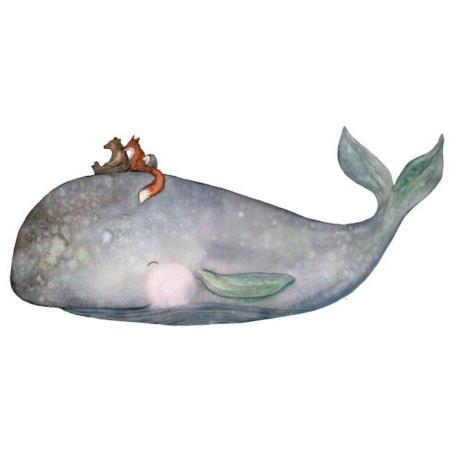 Hartendief muursticker op de rug van walvis