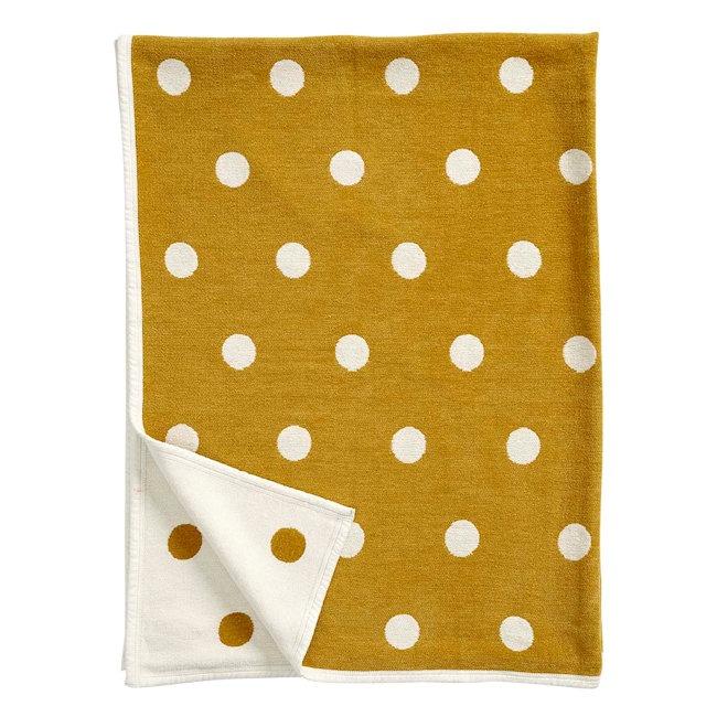 Klippan chenille deken Dots Mustard