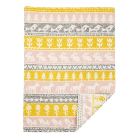 Klippan wiegdeken Nature yellow pink