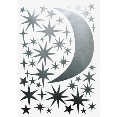 Hartendief muursticker sterren en maan zilver