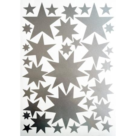 Hartendief muurstickers sterren zilver