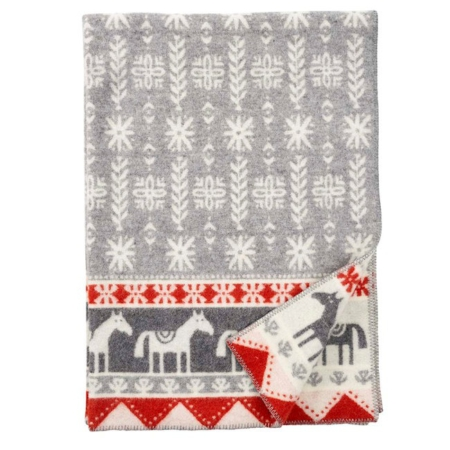 Klippan wollen plaid Horse Grey