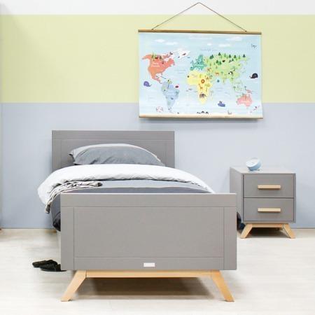 Bopita Fenna grijs bed en nachtkastje