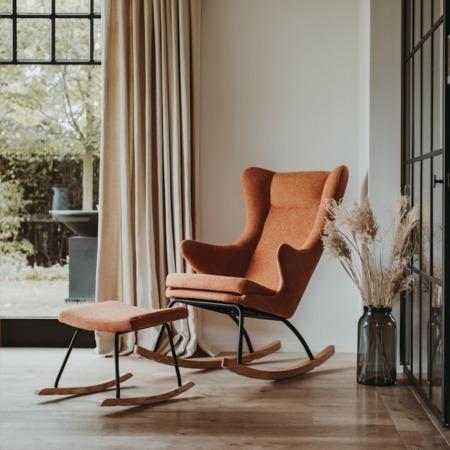 Quax schommelstoel de luxe terra sfeer met hocker