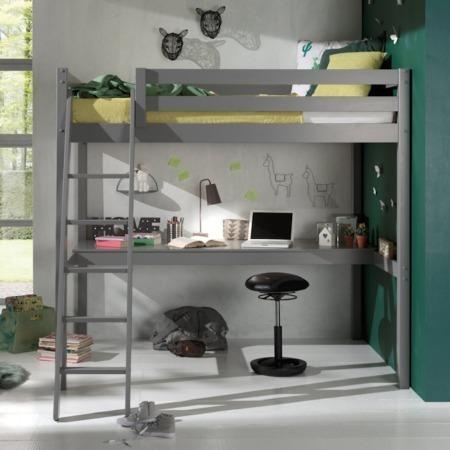 Pino Mezzanine hoogslaper met bureau 140x200 grijs sfeer