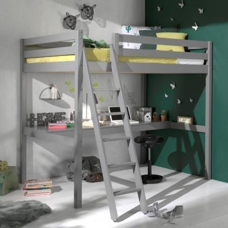 Pino Mezzanine hoogslaper met bureau 140x200 grijs sfeer1