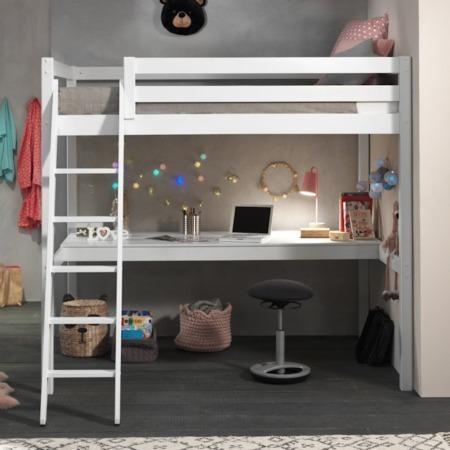 Pino Mezzanine hoogslaper met bureau 140x200 wit sfeer