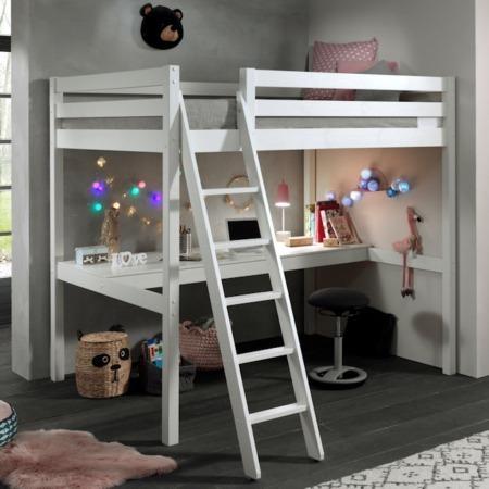 Pino Mezzanine hoogslaper met bureau 140x200 wit sfeer1