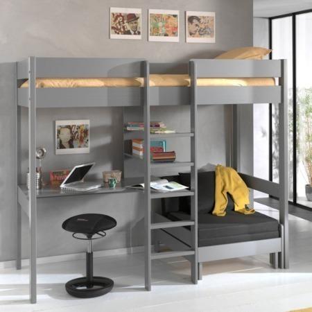 Vipack Pino hoogslaper bureau en zetelbed grijs sfeer1