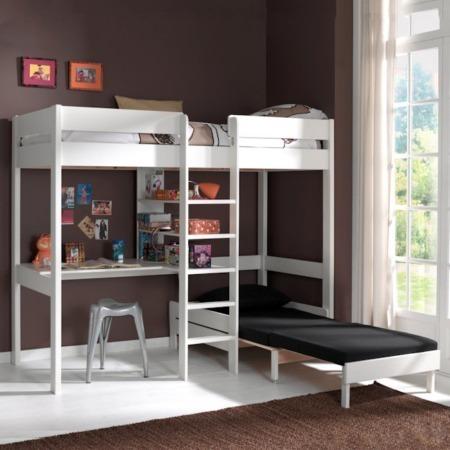 Vipack Pino hoogslaper bureau en zetelbed wit sfeer1
