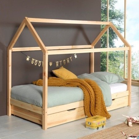 Vipack Dallas bed LP naturel met lade