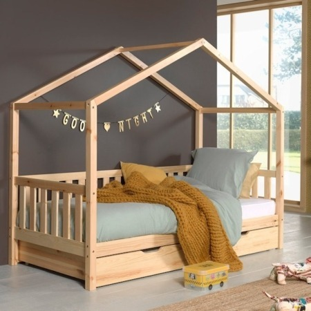 Vipack Dallas bed MH naturel met lade