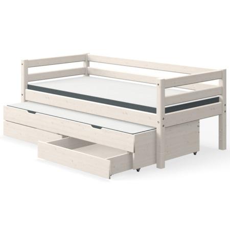 Flexa single bed whitewash met uitschuifbed en lades