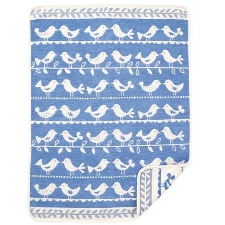 Klippan katoenen wiegdeken Birds blue